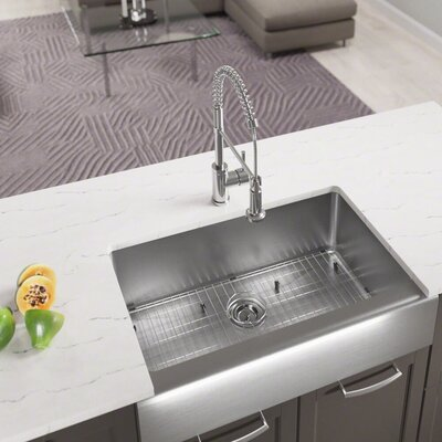 Stainless Steel 33 x 20 Farmhouse/Apron Undermount Kitchen Sink With Additional Accessories