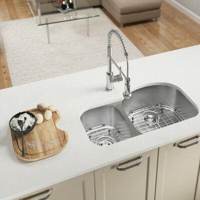 Stainless Steel 32 x 18 Double Basin Undermount Kitchen Sink With Additional Accessories