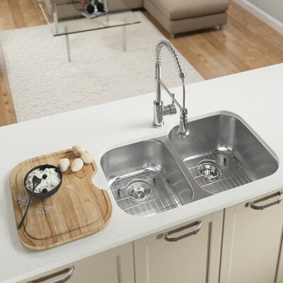 Stainless Steel 35 x 21 Double Basin Undermount Kitchen Sink