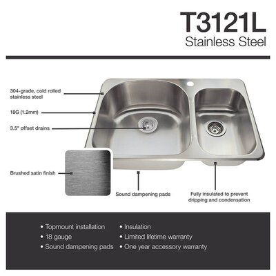 31 x 21 Double Basin Drop-In Kitchen Sink with Basket Strainer
