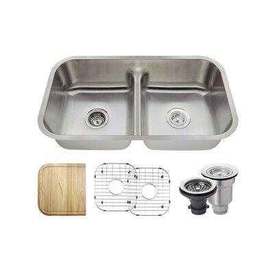 Stainless Steel 32 x 18 Double Basin Undermount Kitchen Sink