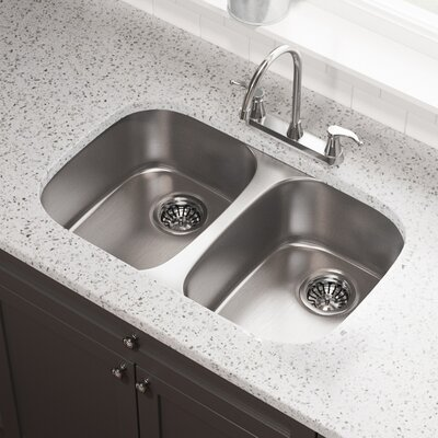 Stainless Steel 29 x 19 Double Basin Undermount Kitchen Sink