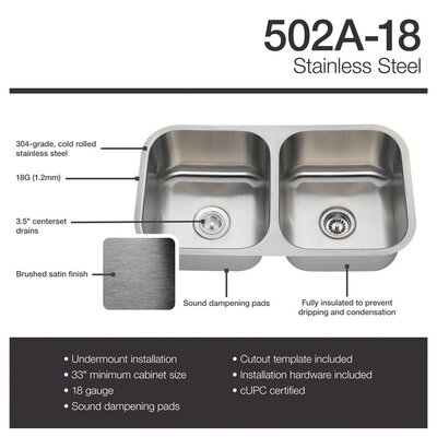 Stainless Steel 33 x 18 Double Basin Undermount Kitchen Sink With Additional Accessories