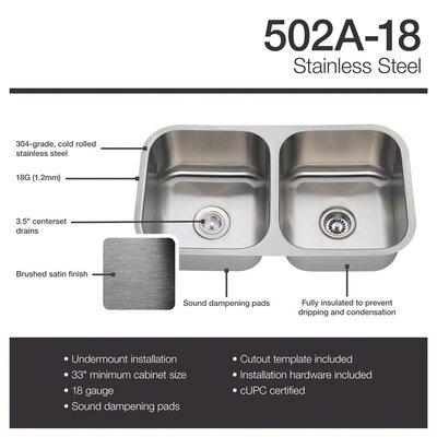 Stainless Steel 33 x 18 Double Basin Undermount Kitchen Sink
