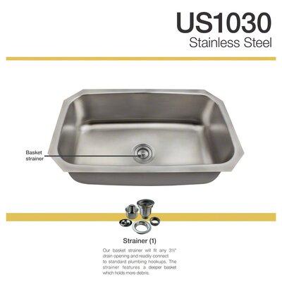 31 x 18 Undermount Kitchen Sink with  Basket Strainer