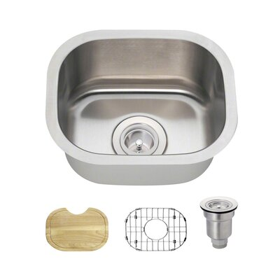 Stainless Steel 15 x 13 Undermount Bar Sink With Additional Accessories