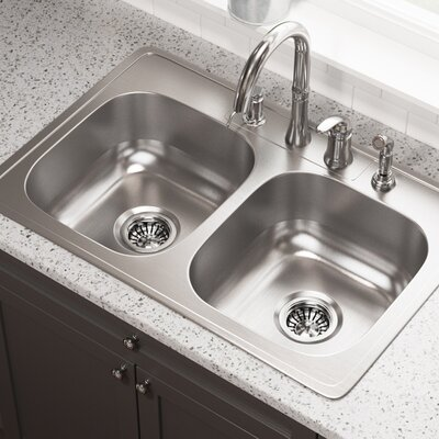 33 x 22 Double Basin Drop-In Kitchen Sink