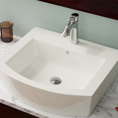 Vitreous China Specialty Vessel Bathroom Sink with Overflow Sink Finish: Bisque