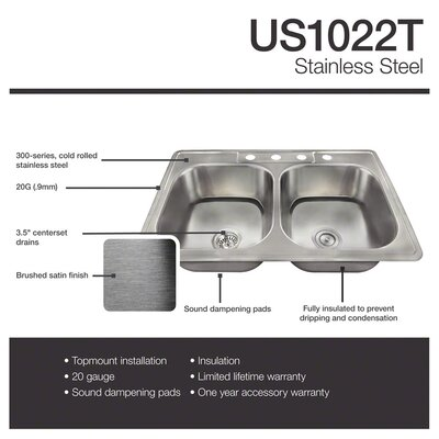 33 x 22 Double Basin Drop-In Kitchen Sink with Basket Strainer
