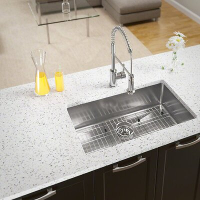 Stainless Steel Single Basin Undermount Kitchen Sink With Additional Accessories