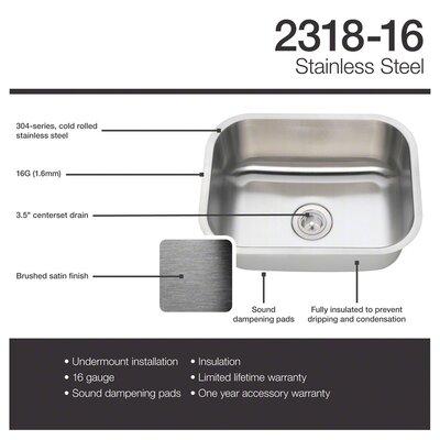 Stainless Steel 23 x 18 Undermount Kitchen Sink