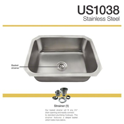 24 x 18 Undermount Kitchen Sink with Basket Strainer