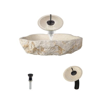 Galaga Specialty Stone Specialty Vessel Bathroom Sink with Faucet Faucet Finish: Antique Bronze