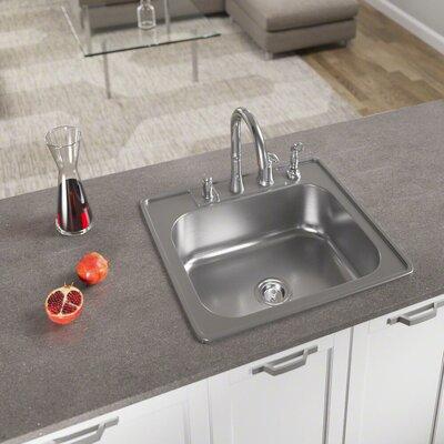 25 x 22 Drop-In Kitchen Sink with Basket Strainer