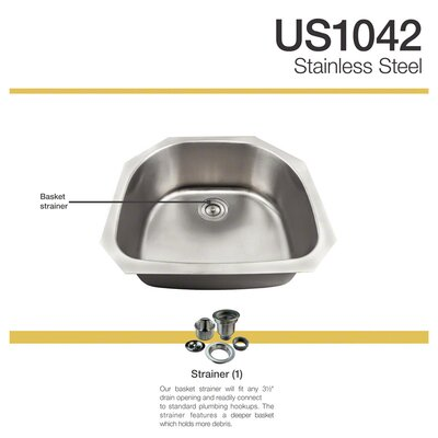 24 x 24 Undermount Kitchen Sink with Basket Strainer