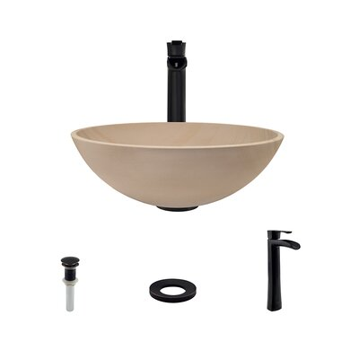 Stone Circular Vessel Bathroom Sink with Faucet Faucet Finish: Antique Bronze