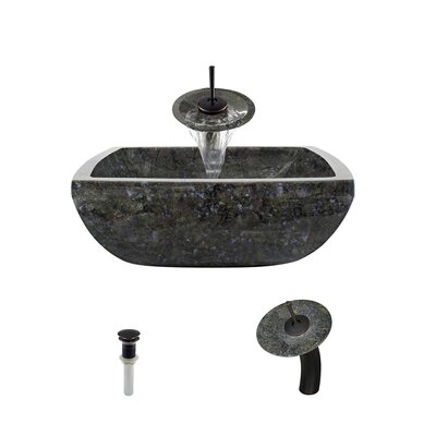 Butterfly Stone Square Vessel Bathroom Sink with Faucet Faucet Finish: Antique Bronze
