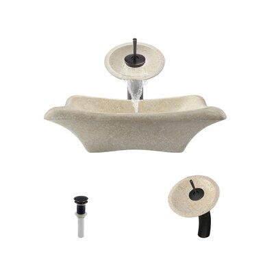 Galaga Stone Rectangular Vessel Bathroom Sink with Faucet Faucet Finish: Antique Bronze