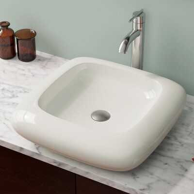 Pillow Top Vitreous China Square Vessel Bathroom Sink Sink Finish: Bisque