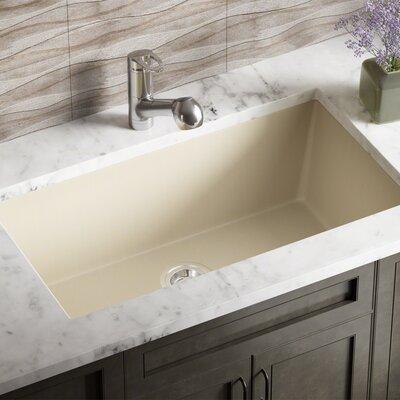Granite Composite 33 x 18 Undermount Kitchen Sink With Basket Strainer Finish: Beige