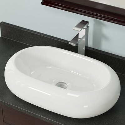 Pillow Top Vitreous China Oval Vessel Bathroom Sink Sink Finish: Bisque