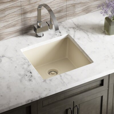 Granite Composite 18 X 17 Undermount Kitchen Sink with Strainer Finish: Beige