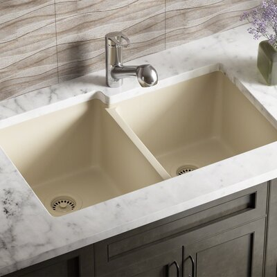 Granite Composite 32 x 20 Double Basin Undermount Kitchen Sink with Strainer and Flange Finish: Beige