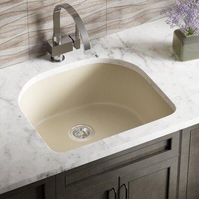 Granite Composite 25 x 22 Undermount Kitchen Sink with Basket Strainer Finish: Beige