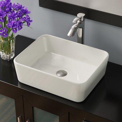 Pillow Top Vitreous China Rectangular Vessel Bathroom Sink Sink Finish: Bisque