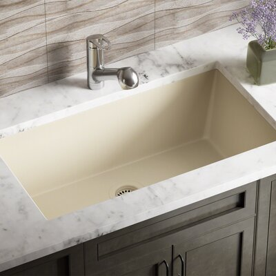 Granite Composite 33 x 18 Undermount Kitchen Sink With Strainer Finish: Beige