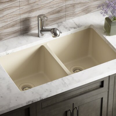Granite Composite 32 x 19 Double Basin Undermount Kitchen Sink with Strainers and Flange Finish: Beige