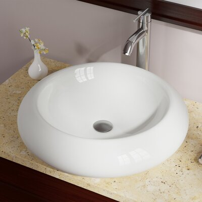 Pillow Top Vitreous China Circular Vessel Bathroom Sink Sink Finish: Bisque