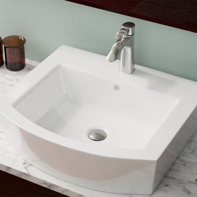Vitreous China Specialty Vessel Bathroom Sink with Overflow Sink Finish: White