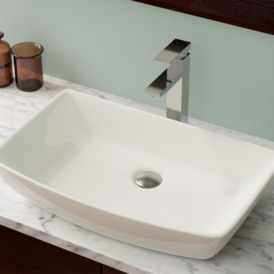 Vitreous China Rectangular Vessel Bathroom Sink Sink Finish: Bisque