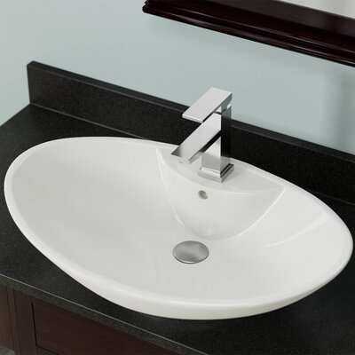 Vitreous China Oval Vessel Bathroom Sink with Overflow Sink Finish: Bisque