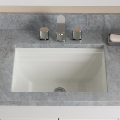 Vitreous China Rectangular Vessel Bathroom Sink with Overflow Sink Finish: Bisque