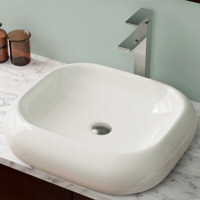 Pillow Top Vitreous China Rectangular Vessel Bathroom Sink Sink Finish: Bisque