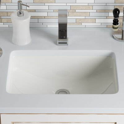 Vitreous China Rectangular Undermount Bathroom Sink with Overflow Sink Finish: Bisque