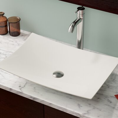 Vitreous China Rectangular Vessel Bathroom Sink Sink Finish: Bisque