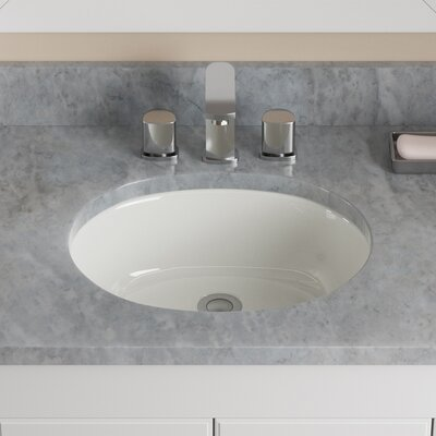 Vitreous China Oval Undermount Bathroom Sink with Overflow Sink Finish: Bisque