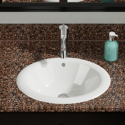Vitreous China Oval Drop-In Bathroom Sink with Overflow Sink Finish: Bisque