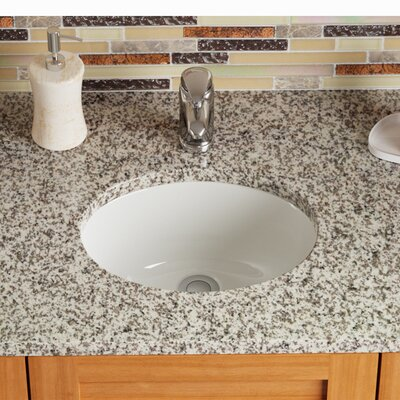 Stone Oval Undermount Bathroom Sink with Overflow Sink Finish: Bisque