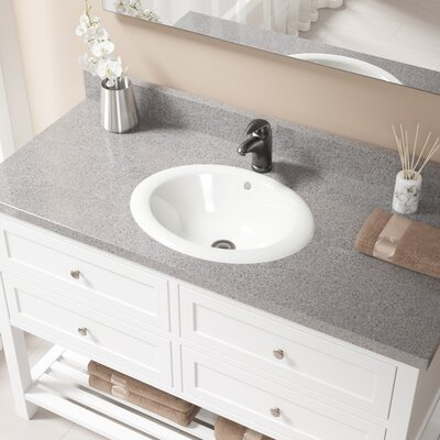 Vitreous China Oval Drop-In Bathroom Sink with Overflow Sink Finish: Bisque, Drain Finish: Antique Rubbed Bronze