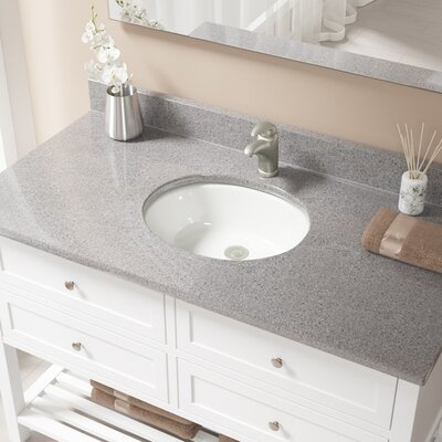 Glass Oval Undermount Bathroom Sink with Overflow Sink Finish: Bisque, Drain Finish: Brushed Nickel