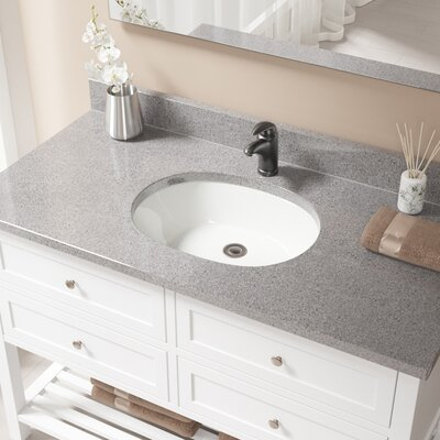 Vitreous China Oval Undermount Bathroom Sink with Overflow Sink Finish: Bisque, Drain Finish: Antique Rubbed Bronze