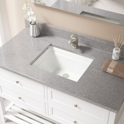 Vitreous China Rectangular Vessel Bathroom Sink with Overflow Sink Finish: Bisque, Drain Finish: Brushed Nickel