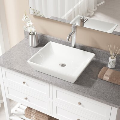 Rectangualr Vitreous China Rectangular Vessel Bathroom Sink with Faucet Sink Finish: Bisque, Faucet Finish: Chrome