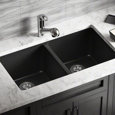 Granite Composite 32 x 19 Double Basin Undermount Kitchen Sink with Basket Strainers Finish: Black