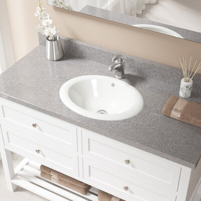 Vitreous China Oval Drop-In Bathroom Sink with Overflow Sink Finish: Bisque, Drain Finish: Chrome