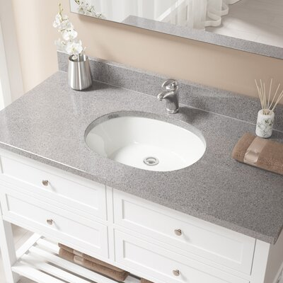Vitreous China Oval Undermount Bathroom Sink with Overflow Sink Finish: Bisque, Drain Finish: Chrome